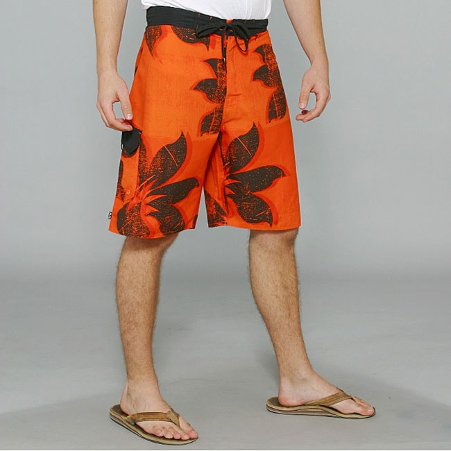 Zonal Men's 'Plantation' Orange Floral Boardshorts