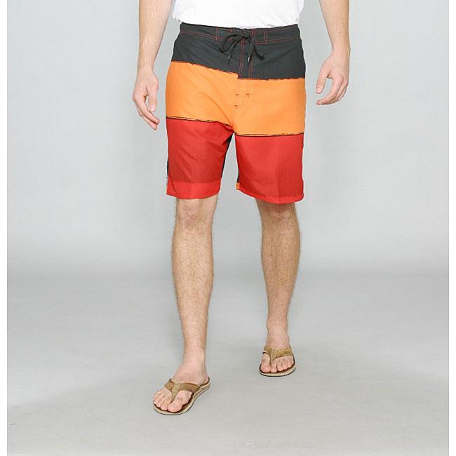 Zonal Men's 'Word E-Board' Red/ Orange Swim Shorts