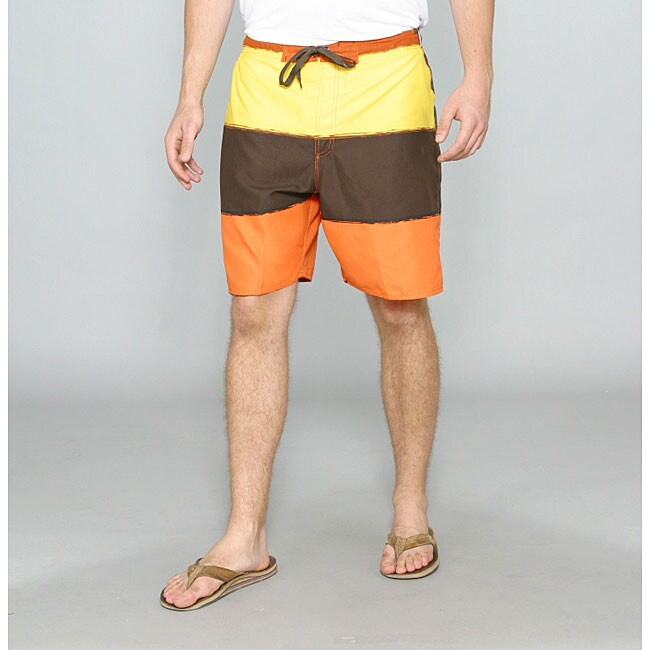 Zonal Men's 'Word E-Board' Orange/ Yellow Swim Shorts