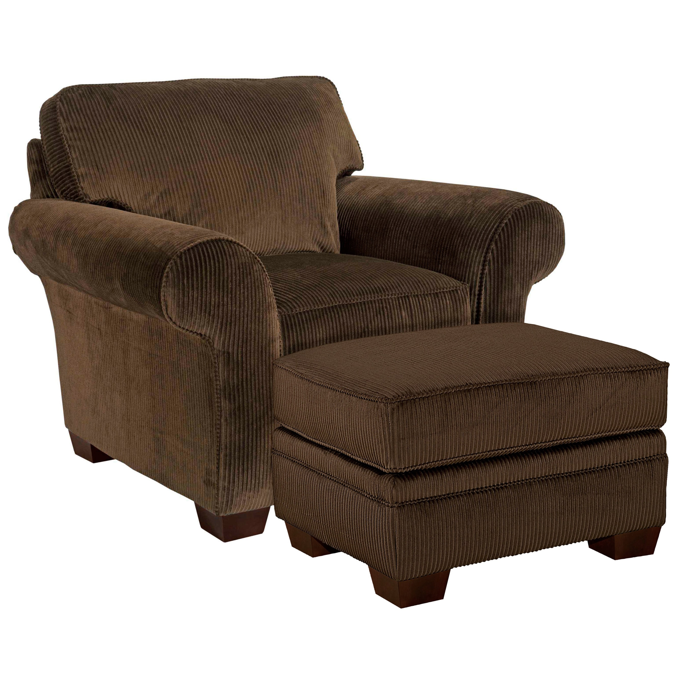 Broyhill Zoey Dark Chocolate Corduroy Chair Ottoman Set