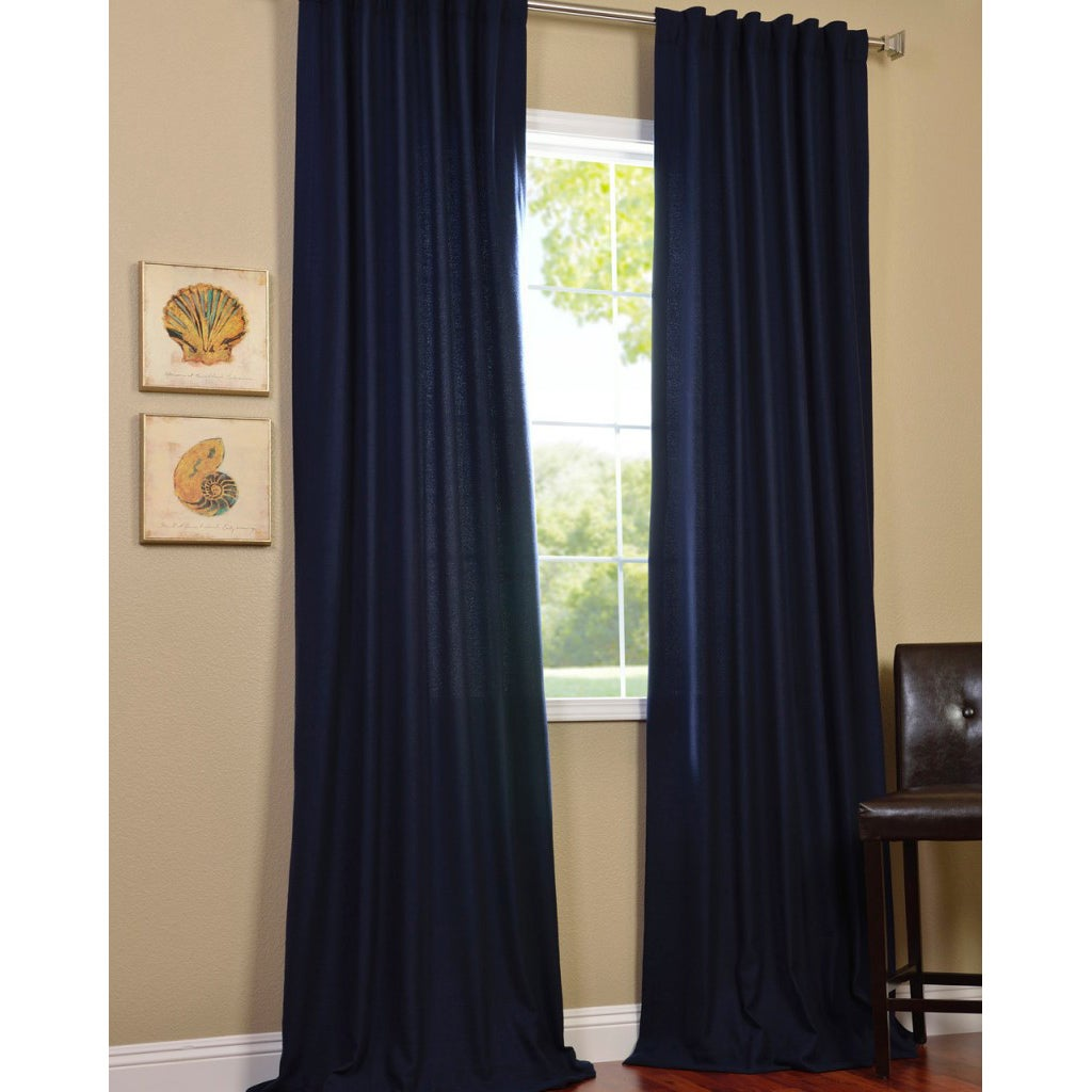 Exclusive Fabrics Navy Faux Cotton Cotenza Curtain Panel