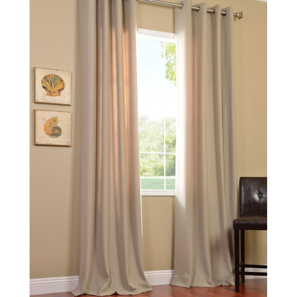 Exclusive Fabrics Cobblestone Faux Cotton Cotenza Curtain Panel - Thumbnail 0