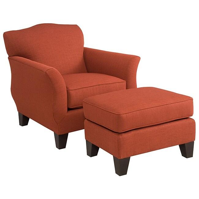 Broyhill Faith Red Formal Modern Chair And Ottoman Set