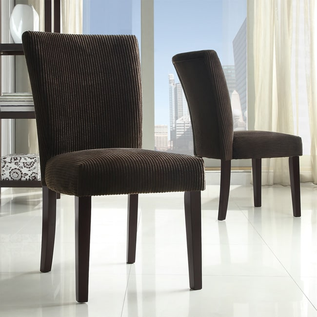 Parson Chocolate Corduroy Dining Chairs (Set of 2)
