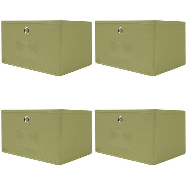 Collapsible Sage Green Fabric Storage Drawers (Pack of 4) - Thumbnail 0