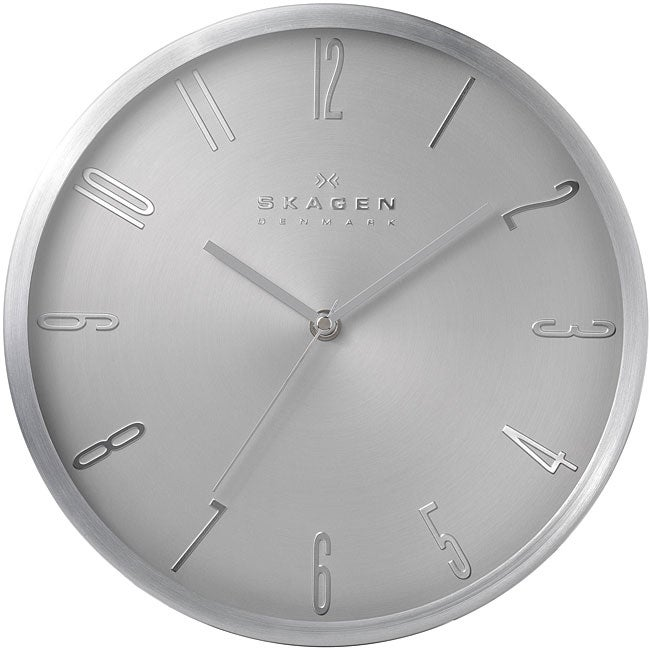 skagen 12 inch stainless steel wall clock free shipping today 14294579. Black Bedroom Furniture Sets. Home Design Ideas