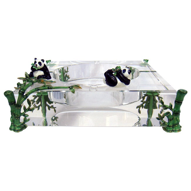 Cristiani Limited Edition Crystal Ashtray with Pewter Pandas