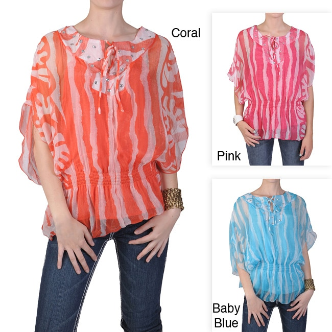 Journee Collection Women's Contemporary Plus Smocked Waist Chiffon Top