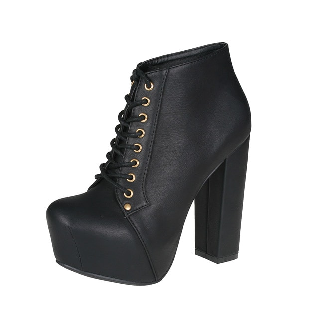 Refresh by Beston Women's 'Dolly-03' Black Chunky Heel Ankle Booties