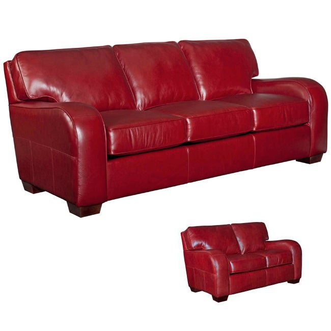 Shop Broyhill \'Melanie\' Red Leather Sofa/ Loveseat Set - Free ...