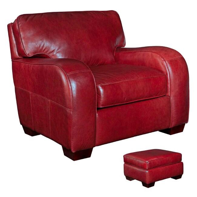 Shop Broyhill Melanie Red Leather Chair Ottoman Set