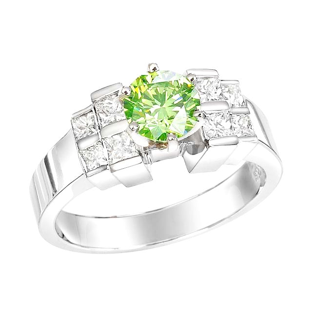 14k White Gold 1-1/2ct TDW Green Diamond Ring (Size 5.5)