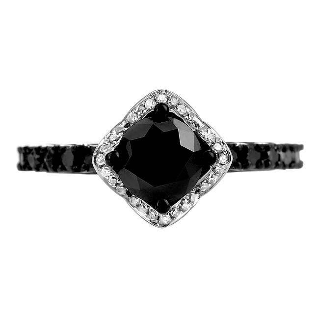 10k White Gold 2 4/5ct TDW Black and White Diamond Halo Ring (G-H, I1-12)