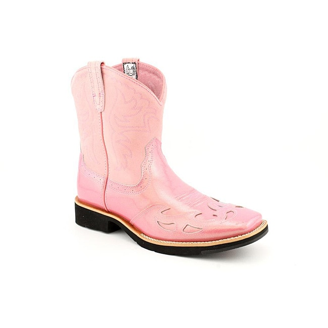 Ariat Girl's Showbaby Squaretoe Wingtip Pink Boots