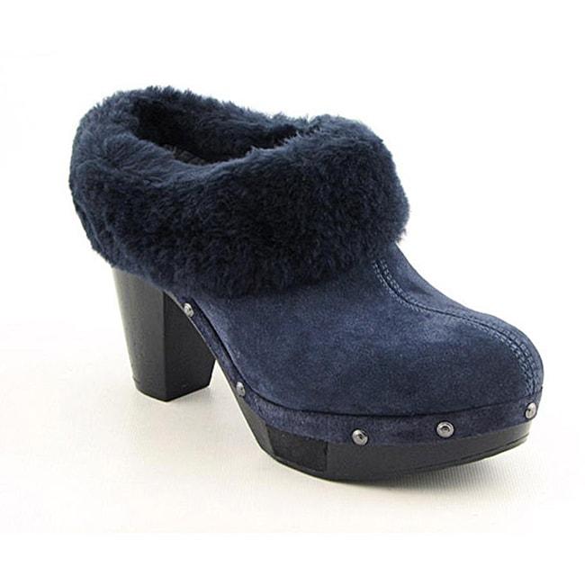 Rockport Women's Katja Shearling Mule Blue Dress Shoes