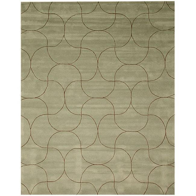 Hand Tufted 'Santana' Green Wool Rug (8'9 x 11'9)