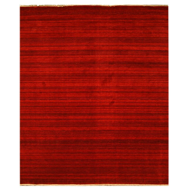 Handmade Wool Red Transitional Stripe Stripe Rug (8' x 10')