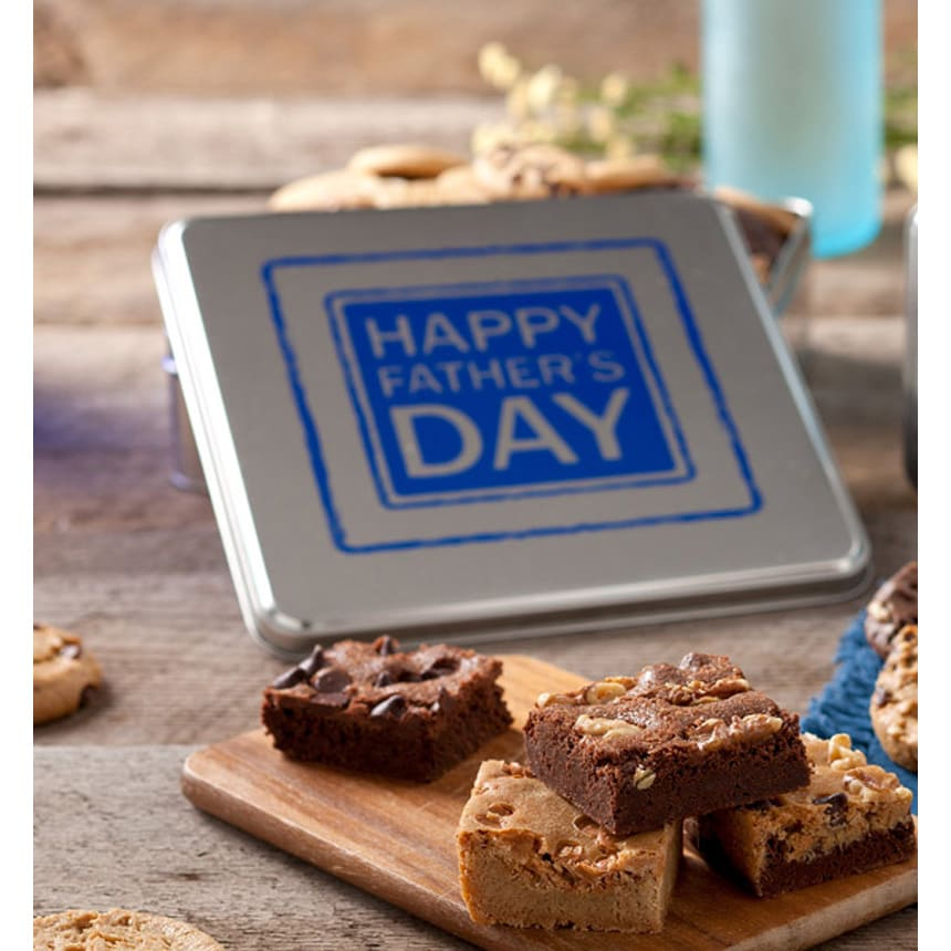 Mrs. Fields Father's Day Tin with 12 Cookies and 12 Brownies