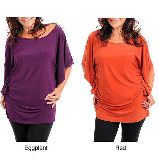 Stanzino Women's Batwing Casual Plus-size Top