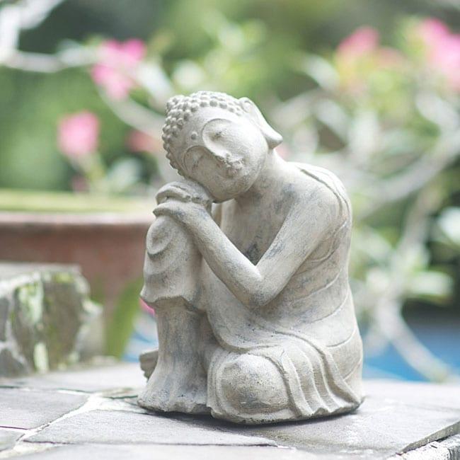 Volcanic Ash Pondering Buddha Garden Statue, Handmade In Indonesia