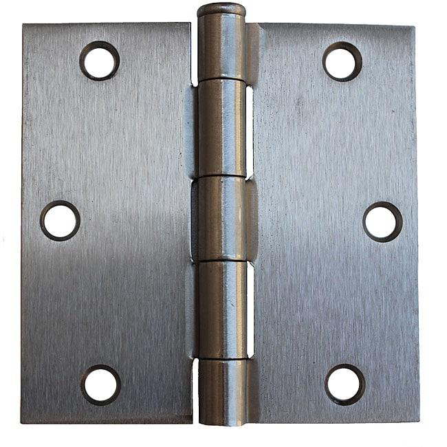 GlideRite 3.5-inch Square Corner Satin Nickel Door Hinges (Pack of 12)