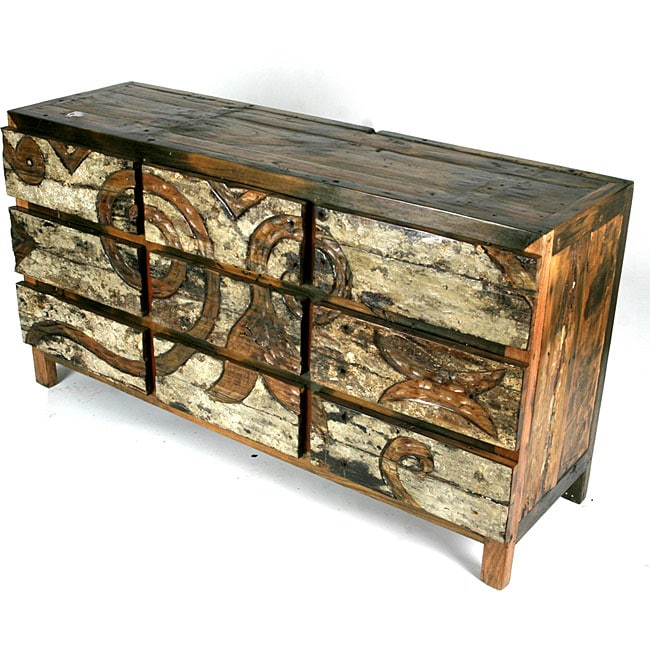 Ecologica Hand Carved Dresser Nine Drawers