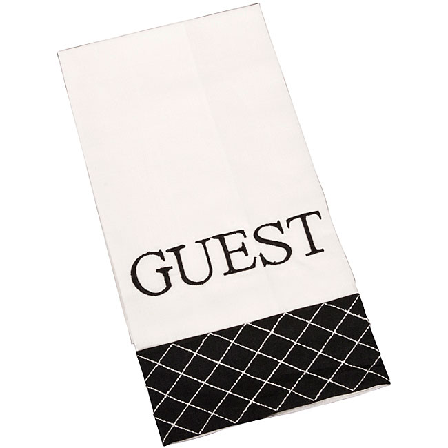 Ivory/ Black Bar Towels (Set of 4)