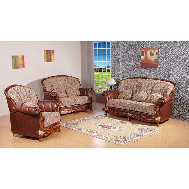 Flora 3-piece Fabric/ Top Grain Leather Sofa Set