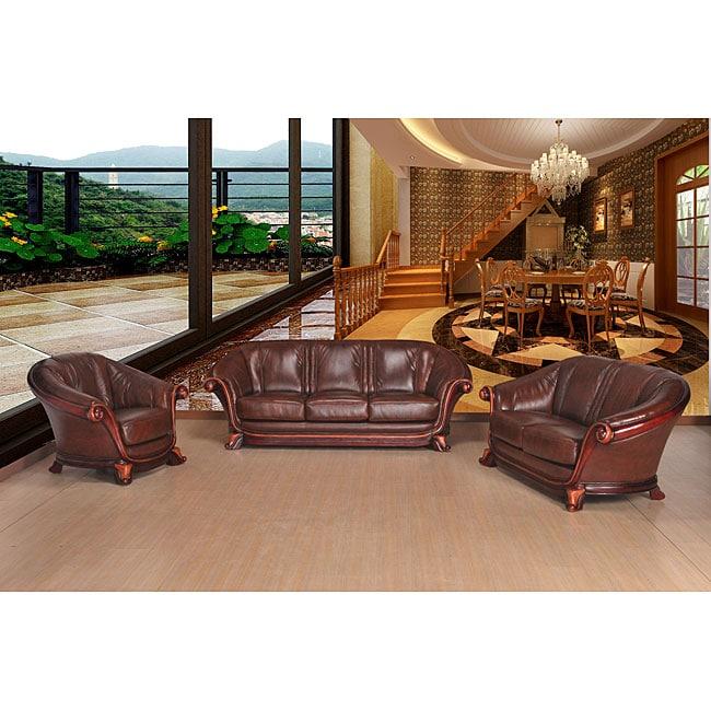 Xenia 3-piece Top Grain Leather Sofa Set