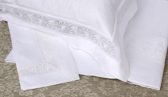 Frette Fiore Pizzo White Lace 600 Thread Count Sheet Set