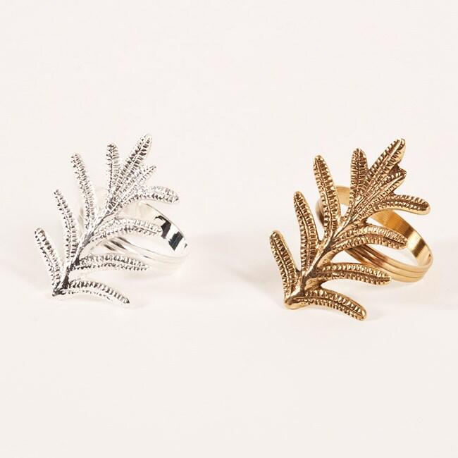 Fern Leaf Design Napkin Rings (Set of 4)
