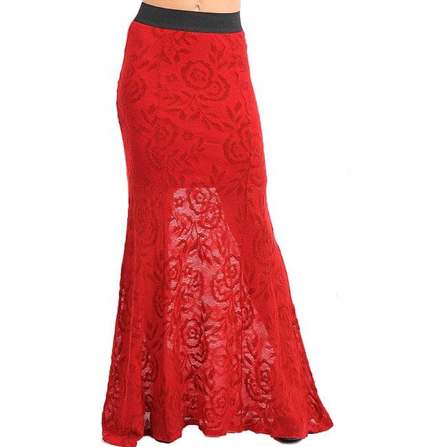 Stanzino Women's Red Lace Maxi Skirt