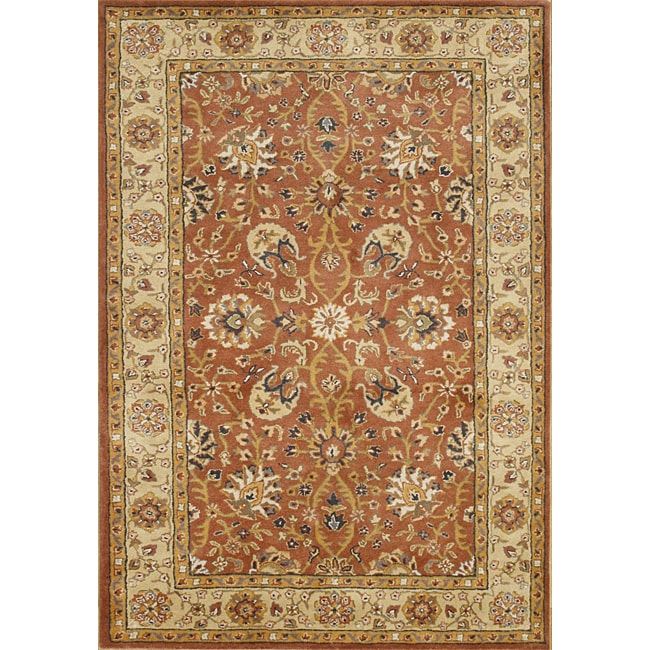 Hand-made Taj Mahal Rust New Zealand Wool Rug (5' x 8') - Thumbnail 0