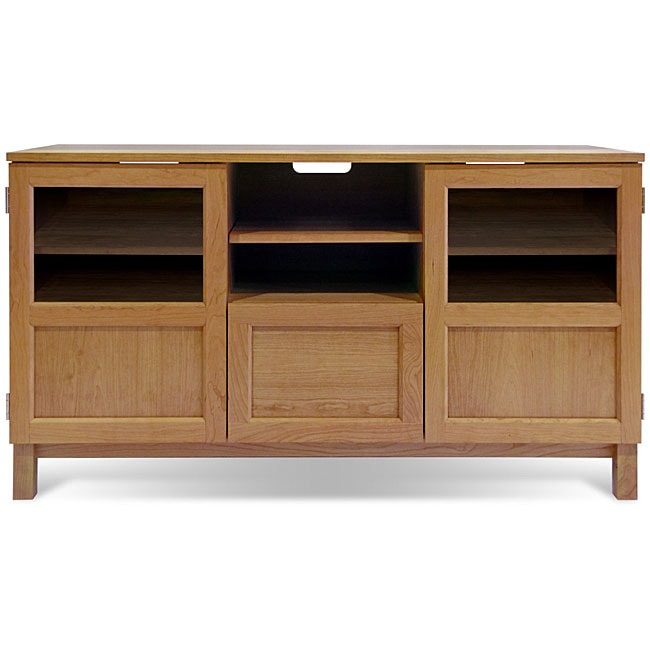 J&K 54-inch Cherry Wood Base TV Cabinet