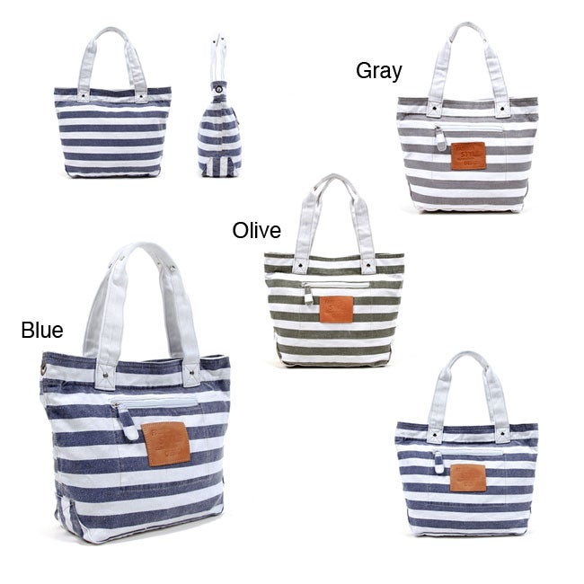 Nikky Mariel Striped Canvas Tote Bag - Thumbnail 0