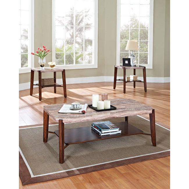 Dark Cherry Faux Marble Top Coffee Table Set Free