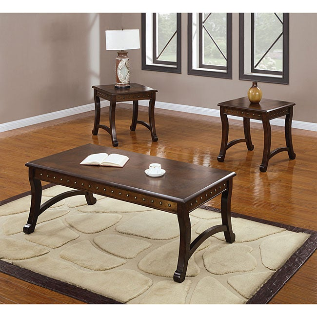 Belita Three-piece Dark Oak Coffee and End Table Set