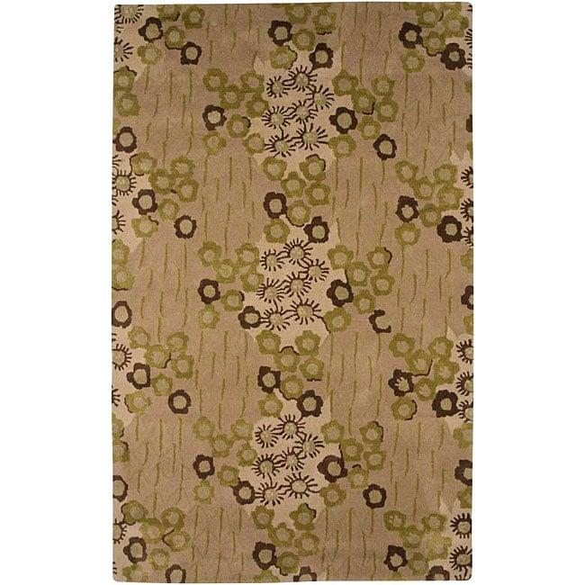 Hand-tufted Beige/ Green Wool Blend Rug (3'6 x 5'6)