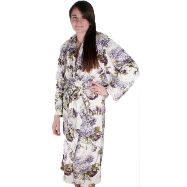 Hydrangea Print Microplush Bath Robe