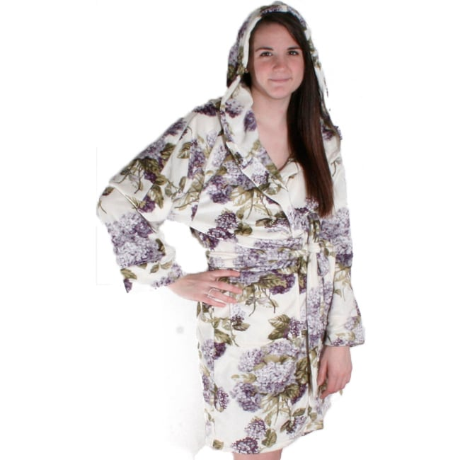 Shop Hydrangea Printed Short Hooded Bath Robe - Free Shipping On Orders Over   45 - Overstock - 6783154 8578d6fa7