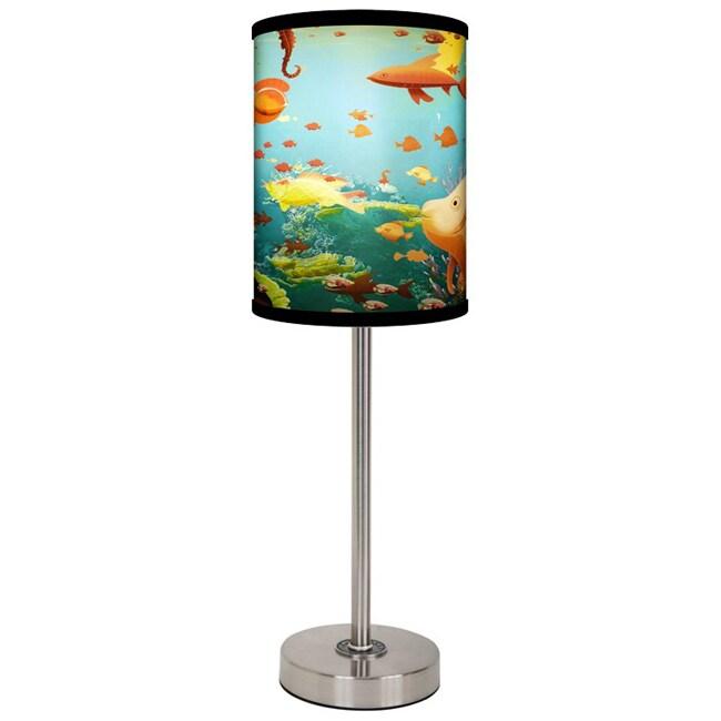 Lamp-In-A-Box Aquarium Brushed Nickel Table Lamp