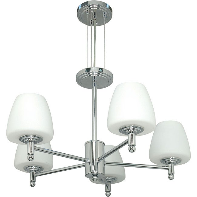 Galileo - 5 Light Chandelier - Polished Chrome Finish with White Capsule Glass