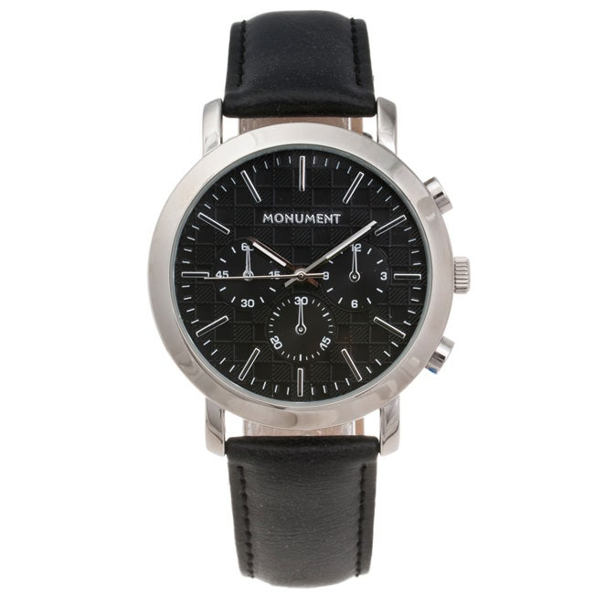 Monument Men's Textured Dial Synthetic Leather Strap Watch