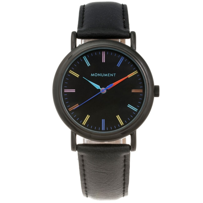 Monument Women's Colorful Dial Synthetic Leather Strap Watch