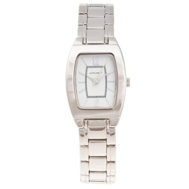 Monument Women's Tonneau Case Silvertone Bracelet Watch