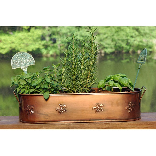 Copper Finish Oblong Metal Planter (India)