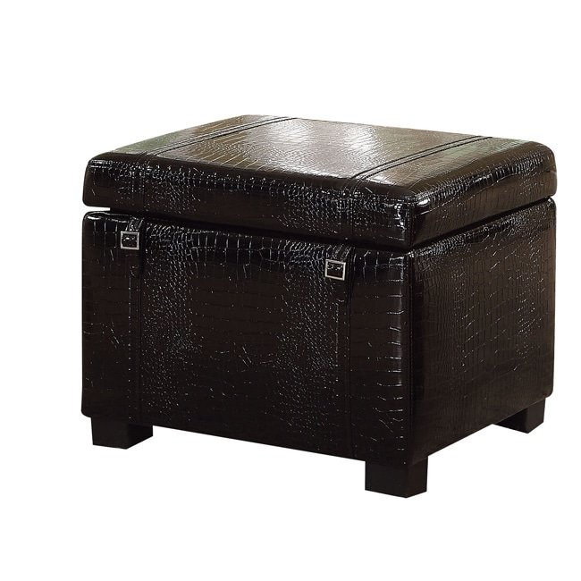 Bell Black Crocodile Bicast Storage Ottoman