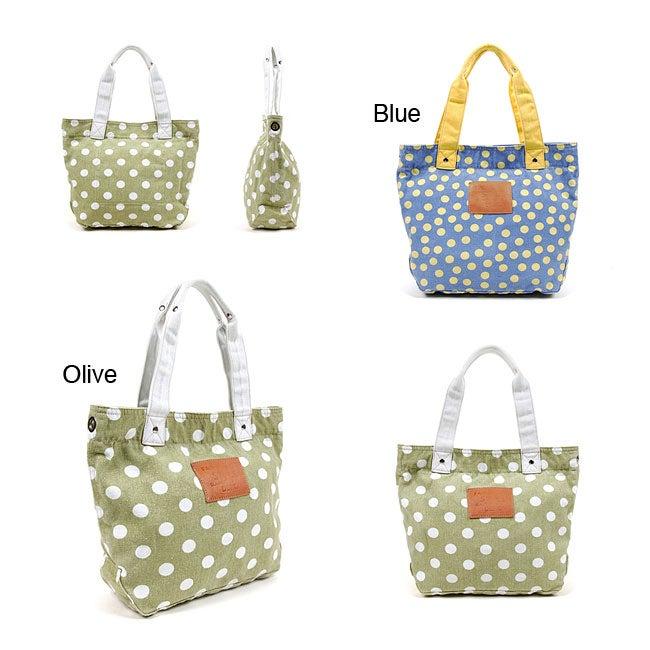 Nikky Wendy Polka Dot Canvas Tote Bag