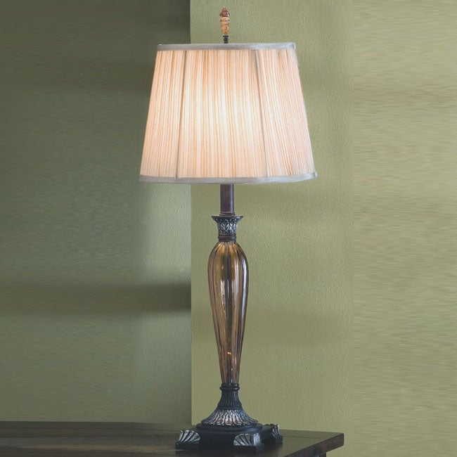Amber Glass and Bronze 31-Inch High Table Lamp
