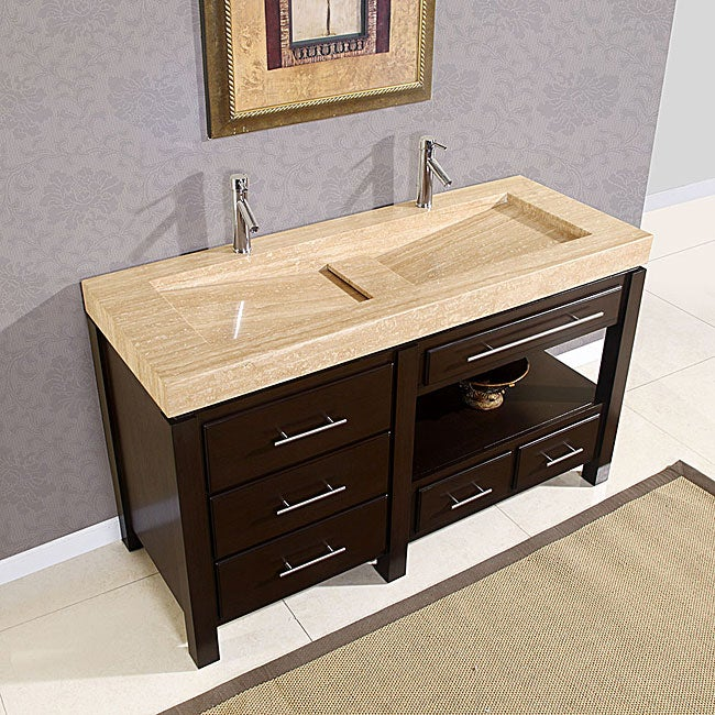 Silkroad Exclusive 60-inch Travertine Stone Vanity - Thumbnail 0